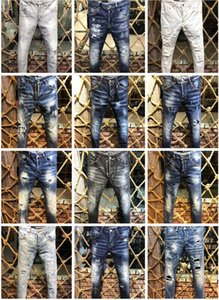 Wholesale 2019 New Arrival Top Quality Brand Designer Men Denim Jeans Embroidery Pants Fashion Holes Trousers Italy Size