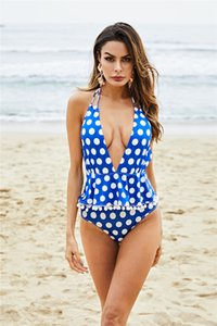 Trends Style One Piece Swimsuit Girls Sexy Bikini Plus Size Deep V Swimwear Backless Polka Dot Bathing Suits Summer Beahwear Monokini