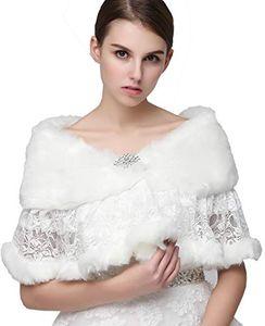 17011 Winter Autumn Cheap Wedding Bridal Wraps Bolero Faux Fur For Wedding Evening Party Prom Jacket Coat Winter White Fur Shawl Wedding