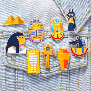 Cartoon Egyptian Pharaoh Mummy pyramid Child Metal Brooches Enamel Pin Accessories Women Backpack Bags Coat Badge
