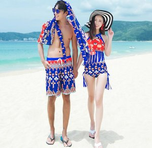 Wholesale 2019 Woman tassel Swimsuit Swiming Suit Women Swim Swimwear Clothing Sets For Three Piece Divided Skirt Men Beach Pants Print