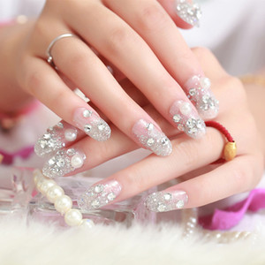 Wholesale 24PCS Women False Nails Color Jump Crystal Pearl Fake Nail Tips Blue White Full Nail Tips Manicure Artificial Finger Decor