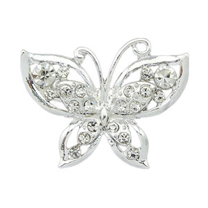Wholesale Drop Shipping Korean Version Small Silver Plated Collar Crystal Butterfly Brooch