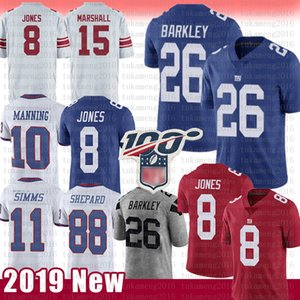 Wholesale 26 Saquon Barkley New York Daniel Jones Giants Jersey Phil Simms Eli Manning Evan Engram Football Jerseys th red Color rush