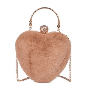 Decent2019 Fire Exceed Ins Small Bag Woman Tidal Plush Heart Shape Joker Single Shoulder Messenger Chain Package Group on Sale