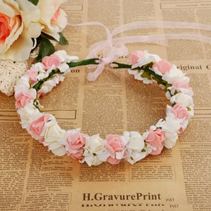 Wholesale 4Colors Wedding Rose Flower Crown Artificial PE Flower Wreaths Bride Hairband Festival Travel Beach Hair Accessory Floral Garland