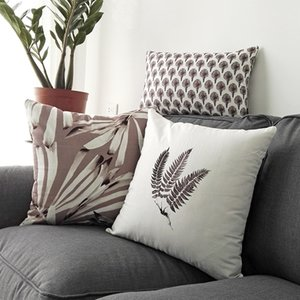 Wholesale DUNXDECO Cushion Cover Bedding Decorative Pillow Case Nordic Simple Plants Leaf Brown Print Sofa Chair Bedding Coussin