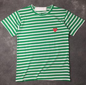 Wholesale Fashion Hot Men Women Black red heart DES play GARCONS CDG embroidery Heart short Sleeve stripe T shirts Embroidery Red Heart tops tee