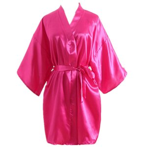 Women's Faux Silk Satin Nightgown Mother Short Sleeve Pure Color Sleepwear Women Summer Loose Home Clothes Bathrobes RRA404