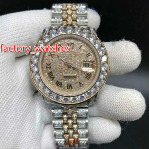 Wholesale NEW two tone mm Big diamond watch Automatic Mechanical man watch diamond band silver and rose gold Stainless steel men s watches