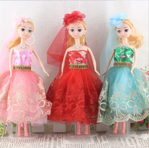 Wholesale Wedding Dress Gown Veil Glove Rose Lace Outfit Clothes For Bride Kurhn Barbie Doll