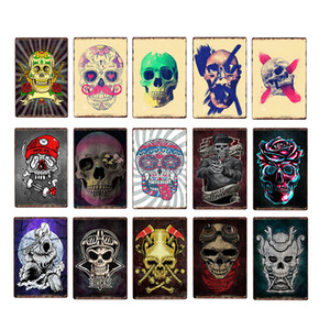 Wholesale Metal Sign Retro New Skull Tattoo Parlors Shop Tin Signs Plate Top Music Film Posters Art Cafe Bar Vintage Metal Painting Wall Classic