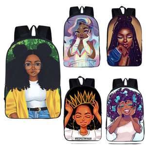 Girls Printed School Backpacks 32 Design Africa Beauty Girls Character Printed School Bags Teenager Girls Decompression School Book Bags