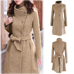 2020 Womens Winter Lapel Wool Coat Trench Jacket Long Sleeve Overcoat Outwear Abrigos Mujer Invierno 2018 Camel Coat Plus Size