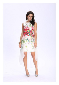 Timeless Floral Chiffon Print Light Satin Round Neckline Shift Party Cocktail Short Dress on Sale