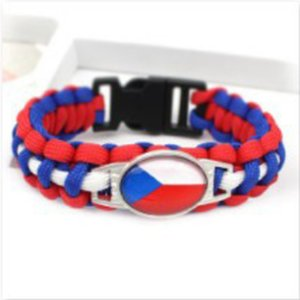 Wholesale Fashion mm Cabochon Bracelet Jewelry Czech Republic Flag Charm Paracord s Bangles For Man Woman