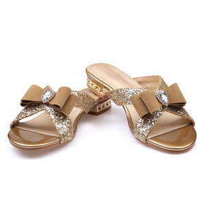 Wholesale Ekoak New Fashion Women Sandals Ladies Sexy Crystal Bling Bowtie Party Dress Shoes Woman Summer Beach Shoes Girls Slides