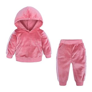 Free DHL Autumn Kids Boys Tracksuits Ears Sports Baby Boys Hoodies with Pants 2pieces Set Outwears Winter Velvet Toddler Kids Clothing Suits on Sale