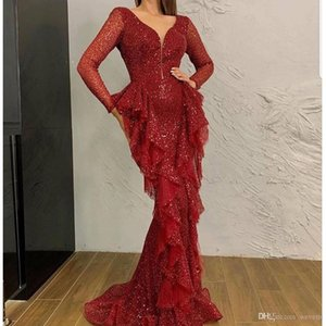 Wholesale Sparkly Dark Red Sequined Mermaid Evening Dresses Deep V Neck Long Sleeves Ruffles robes de soirée Prom Dress Arabic Dubai Evening Wear