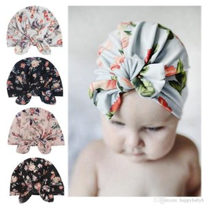 Wholesale Baby girl beanies Hat Indian Knoted Turban Cap Flower Printed Colorful Bow And Rabbit Ear cap