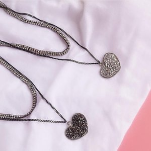 Wholesale layer necklaces resale online - jewelry heart crystal necklace double layers paillette heart pendant necklace for women simple hot fashion