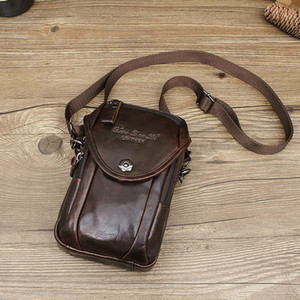 Wholesale Small Dolly Men Cowhide Mini Messenger Bag Pannier Bag Genuine Leather Wear Leather Belt Mobile Phone Waist Multi functional