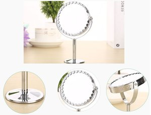Wholesale Makeup Mirror With LED Cosmetic Dual Sided Round Shape LEDs Rotating Cosmetic Mirror Stand Magnifier