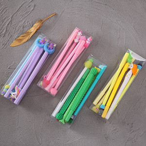 Wholesale stationery for sale - Group buy 6 set Hot Rubber Top Head Pink Girl Cute Unicorn Pen Kawaii Cactus Gel Pen Set Candy Color Neutral Gel Ink Pen For Kids Gift Stationery