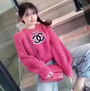 The Latest Design For Women's Sweaters Fashion Trend Lamb Hair Long-Sleeved O Neck Sweaters For Outdoor Recreation Sport Loose Knit