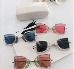 Wholesale 2019 new trend Double lens Optics Sunglasses Pearl metal frame Fashion brand Female design Travel photo outdoor driving Glasses