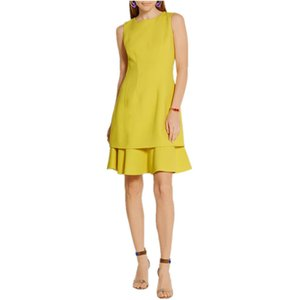 Wholesale summer new design women summer O Neck dress yellow brief A Line dress Female Vestido