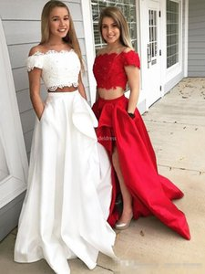 Wholesale Modest Two Piece Prom Dresses Red White Short Sleeves Lace Applique High Side Slit Beaded Off the Shoulder Satin Evening Gowns with Pockets
