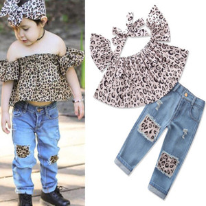Wholesale New Fashion Children Girls Clothes Off shoulder Crop Tops Print+ Hole Denim Pant Jean Headband 3PCS Toddler Kids Clothing