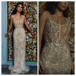 Wholesale 2019 Arabic Luxurious Sexy Beach Wedding Dresses Sheer Neck Crystals Lace Beaded Sheath Bridal Dresses Charming Wedding Gowns ZJ533