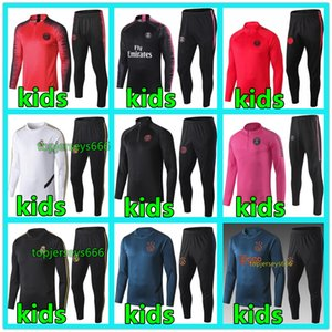 Wholesale New kids Psg tracksuit psg soccer jogging MBAPPE POGBA Paris child football training suit