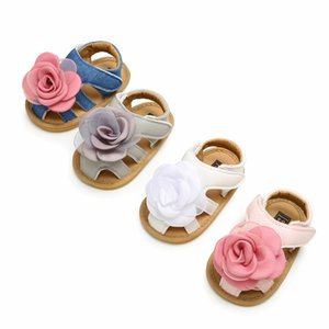 Wholesale Kids luxury designer sandals with headbands big flower pu soft rubber sandals newborn baby girl shoes first walker footwear flat shoes