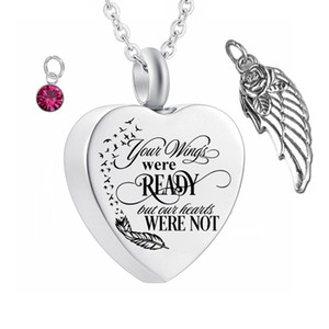 Wholesale cremation jewelry stainless steel resale online - Cremation Jewelry Angel Wings Pendant Memorial Ashes Urn Pendant Stainless Steel Name customization Cremation Ashes Urn Jewelry