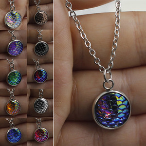 Wholesale Mermaid Necklace Colors Silver Plated Women s Scale Bling mermaid Pendant Disc Fish Dragon necklace Lady jewelry UJY873