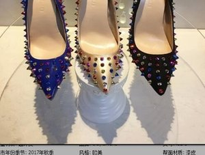 Wholesale Hot Sales Rivets Red Bottom Women High Heels fashion Pointed Toe Spiked Studded Shoes Women Wedding Dress Shoes