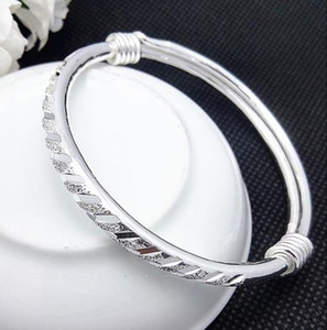 Bangles New Trendy Meteor Shower Tube Sliding Frosted Bangles 925 Sterling Silver Bracelet Child Women Jewelry Wholesale