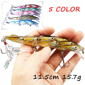 5pcs lot 5 Colors Mixed 3D Eyes Minnow Plastic Fishing Lure Hard Baits & Lures 11.5cm 15.7g 6# Fishing Hooks BL_18
