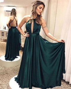 Wholesale 2019 Plus Size Elegant Simple Dark Green Backless Prom Dresses Criss Cross Formal Dresses Evening Wear Floor Length Party Prom Gowns