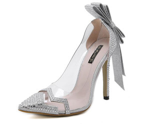 Wholesale Hot Sale women rhinestone crystal PVC Clear dress wedding bridal shoes bowtie butterfly knot sandals pumps silver woman high heels