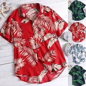 2019 Hawaiian Style Mens Short Sleeve Print Shirt Vacation Plus Size Casual Stand Collar Button Loose Beach Shirt Apparel Comfort Tops on Sale