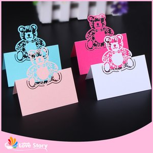 Wholesale Big Heard Love Laser Cut Bear Name Card Birthday Party Table Card Baby Shower Name Table Place Pary Supplies