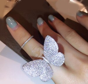 Wholesale Jewelry Internet celebrity Sterling Silver Pave Full White Sapphire CZ Diamond Butterfly wings Women Ring Gift