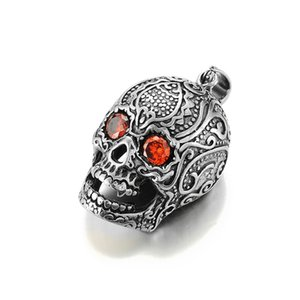 Wholesale Skull Skeleton With Red Eyes Gothic Pendant L Necklace Chain Charm Fashion Hip Hop Jewelry For Men Titanium Stainless Steel