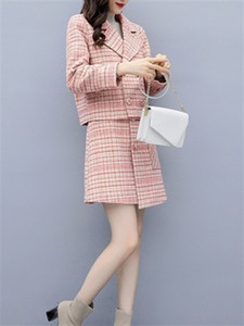 Suits Women Autumn Winter Elegant Vintage Plaid Blazer Coat Tops and Pink Mini Skirt 2 Two Piece Set Ladies Clothes