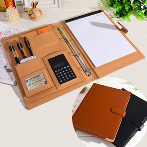 Wholesale- RuiZe leather folder Padfolio multifunction organizer planner notebook ring binder A4 file folder with calculator office supply