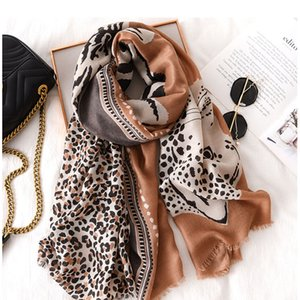 Wholesale scarves wraps resale online - Echarpe femme Luxury winter leopard scarf big shawl Sjaal bufanda animal print leopardo ponchos capes shawls and wraps